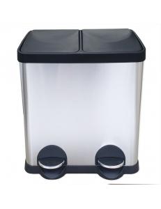 Ведро на 2 БАКА  для раздельного сбора  мусора крышка-пластик 30 л,  400х300х485 мм , нержавейка 410 10230