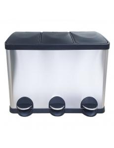 Ведро на 3 БАКА  для раздельного сбора  мусора крышка-пластик  45 л , 600х300х485 мм , нержавейка 410 10245