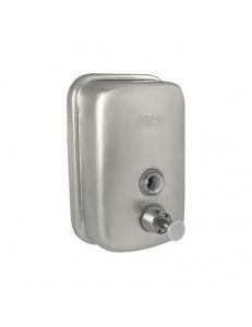 Дозатор жидкого мыла настенный , металический с глазком, из нержавеющей стали 201 , на  500 мл МАТОВЫЙ  ХРОМ 614