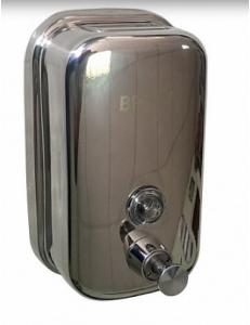 Дозатор жидкого мыла настенный , металический с глазком, из нержавеющей стали 500 мл, код: 618