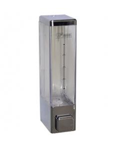 Дозатор жидкого мыла пластиковый , хромированный, квадратный - 250 мл, GF-623