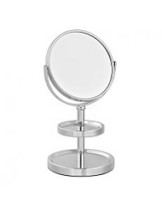 Зеркало косметическое настольное с полочками для украшений , нержавейка хромированная 051101