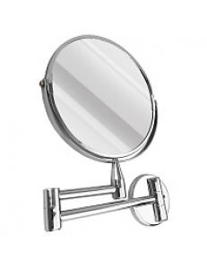 Зеркало косметическое настенное большое на коленце нержавейка хромированная, код: 75270-1