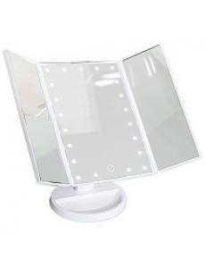 Зеркало косметическое настольное БЕЛОЕ со светодиодной подсветкой , раскладное,сенсорное, зеркало с двойным и тройным увеличением ,  18x12x28 см 75271