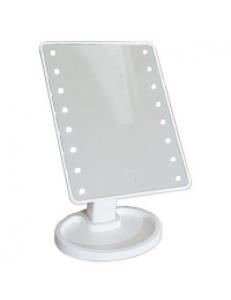 Зеркало косметическое настольное БЕЛОЕ со светодиодной подсветкой , сенсорное ,  16x1,2x27.2  см 75272