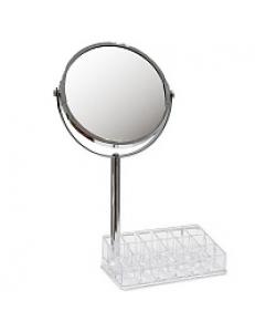 Зеркало косметическое настольное хромированное с подставкой для макияжных принадлежностей ,зеркало с двойным увеличением  20x9x33 см 75273