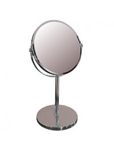 Зеркало косметическое настольное ЭКОНОМ  хромированное , зеркало с двойным увеличением D17  , 19x15x34.5 см 75274
