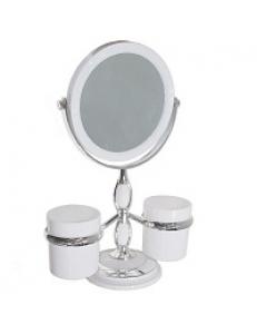 Зеркало косметическое настольное , с двумя стаканами для принадлежностей ,  хромированное  15x32 см 75275