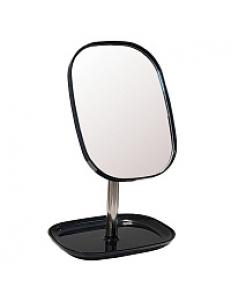 Зеркало косметическое настольное ЧЁРНОЕ заоваленное  с подставкой для макияжных пренадлежностей , 17.8x12.8x24 см 75276