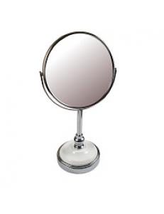 Зеркало косметическое настольное  хромированное с керамической вставкой , зеркало с двойным увеличением D17  , 19x15x34.5 см 75277