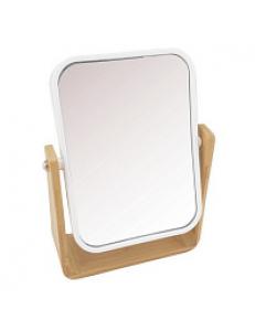Зеркало косметическое настольное БЕЛОЕ с вставками из бамбука  17x22x6 см 75813