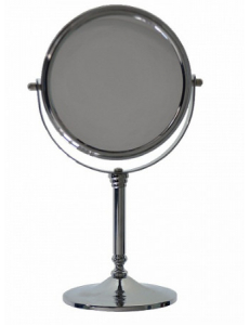 Зеркало косметическое настольное нержавейка хромированная, код: 050134
