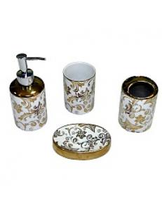 Набор в ванную настольный керамический , расписной , золотой, код: 20803