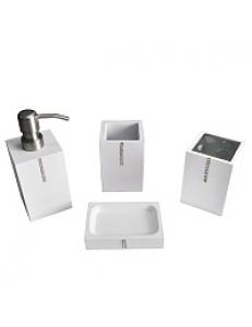 Набор в ванную настольный акриловый со стразами , белый - классика, код: 20809