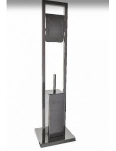 Набор для туалета напольный ( ёрш + держатель туалетной бумаги ) нержавейка хромированная, 403