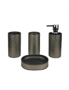 Набор   в ванную настольный из нержавеющей стали , покрытие СЛЮДА , 4 предмета ( мыльница, дозатор ж/м, стакан для щёток , стакан для пасты)