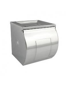 Держатель  туалетной бумаги закрытый короб с пепельницей ,  120х125х125 мм из нержавеющей стали 304 , хром 79909