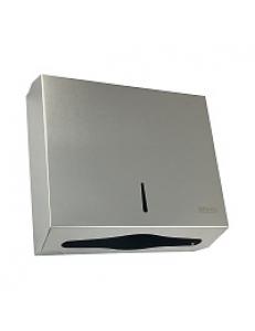 Диспенсер для бумажного полотенца на две пачки  с ключом из  нержавейки матовый хром  ШхВхГ 285х260х100мм 901