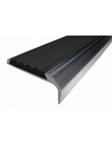 Алюминиевый угол-порог с 1-ой противоскользящей вставкой Без тех. отверстий под крепеж. Длина 3 пог.м. Черн