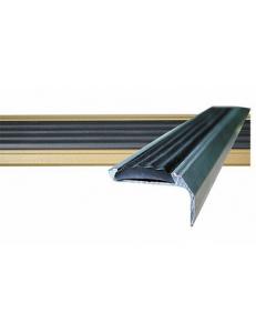 Алюминиевый угол-порог с 1-ой противоскользящей вставкой Без тех. отверстий под крепеж. Длина 1.33 пог.м.