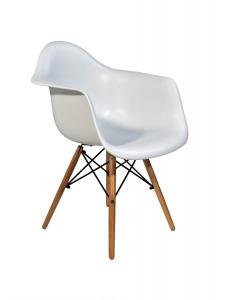 Кресло EAMES W белое. Сидение.+Кресло EAMES W. Каркас деревянный