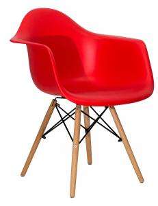 Кресло EAMES W красное. Сидение.+Кресло EAMES W. Каркас деревянный