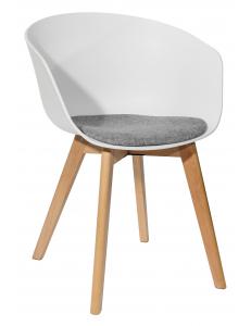 Кресло LIBRA, белое с подушкой, деревян. ножки