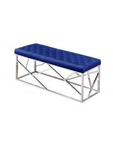 Банкетка-скамейкаАРТДЕКО,вельветсиний,стальсеребро