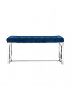 Банкетка-скамейка БРУКЛИН, вельвет синий, сталь серебро