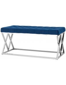 Банкетка-скамейка ИНСИГНИЯ, вельвет синий, сталь серебро