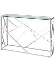 Консоль АРТ ДЕКО 115*30, прозрачное стекло, сталь серебро