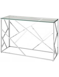 Консоль АРТ ДЕКО 120*40, прозрачное стекло, сталь серебро