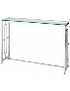 Консоль БРУКЛИН 115*30, прозрачное стекло, сталь серебро