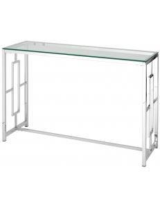 Консоль БРУКЛИН 120*40, прозрачное стекло, сталь серебро