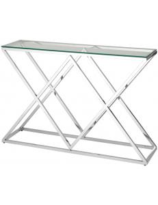 Консоль ИНСИГНИЯ 115*30, прозрачное стекло, сталь серебро