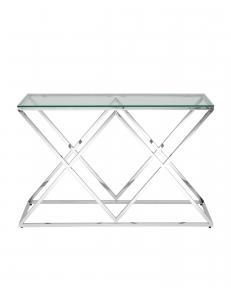 Консоль ИНСИГНИЯ 120*40, прозрачное стекло, сталь серебро
