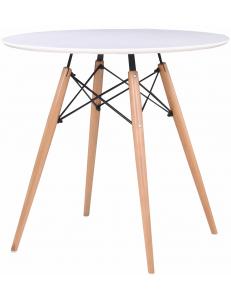 Стол круглый EAMES DSW D=70, белый на дер. ножках