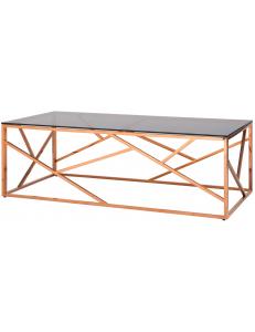Журнальный стол 120*60 АРТ ДЕКО, стекло smoke, сталь розовое золото