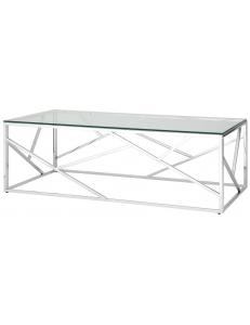 Журнальный стол 120*60 АРТ ДЕКО, прозрачное стекло, сталь серебро