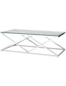 Журнальный стол 120*60 ИНСИГНИЯ, прозрачное стекло, сталь серебро