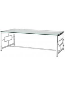 Журнальный стол 120*60 БРУКЛИН, прозрачное стекло, сталь серебро