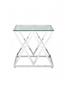 Журнальный стол 55*55 ИНСИГНИЯ, прозрачное стекло, сталь серебро
