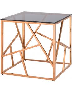 Журнальный столик 55*55 АРТ ДЕКО, стекло smoke, сталь розовое золото