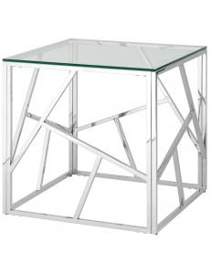 Журнальный столик 55*55 АРТ ДЕКО, прозрачное стекло, сталь серебро