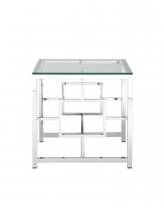 Журнальный столик 55*55 БРУКЛИН, прозрачное стекло, сталь серебро
