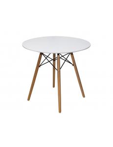Стол круглый EAMES DSW D=80, белый на дер. ножках