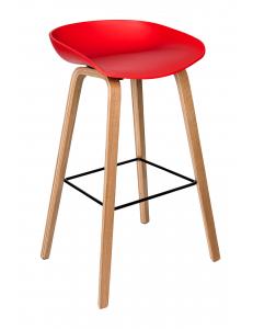 Стул барный LIBRA, красный, деревян. ножки
