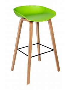 Стул барный LIBRA, зеленый, деревян. ножки