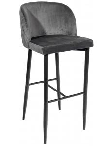 Стул барный Оскар, вельвет серый+Стул барный Оскар, ножки металл, черный матовый