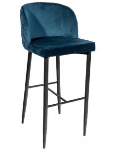Стул барный Оскар, вельвет сине-зеленый+Стул барный Оскар, ножки металл, черный матовый
